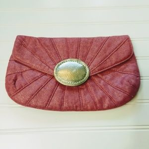 CHICO'S | Shimmery Pink Fabric Eva Clutch